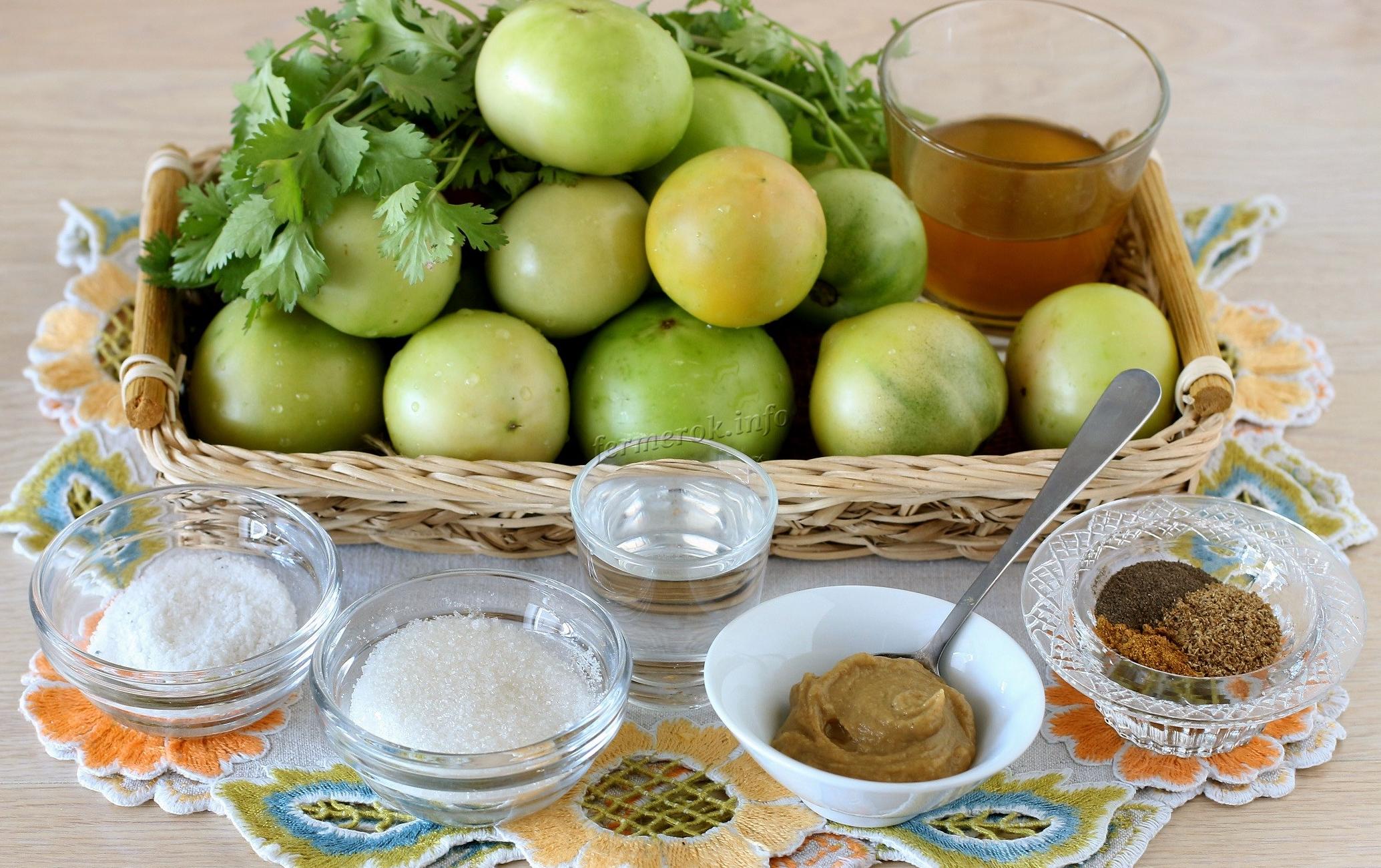 Ингредиенты для мариновки зеленных помидоров