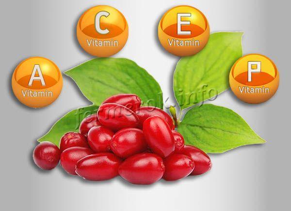 В кизиле много витаминов A, C, E, P